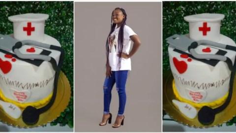 Photos: Cute Ghanaian Nurse customizes hospital tools as cake to celebrate birthday