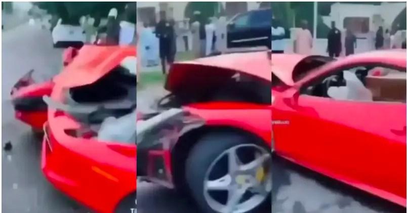 Man in tears as he crashes Ferrari car he rented