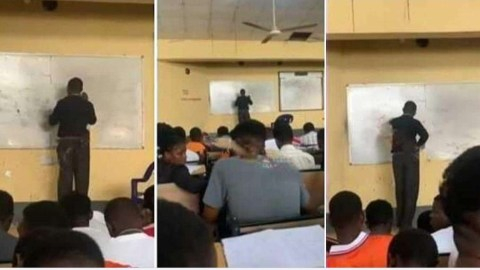 Physics na your mate? – Embarrassing moment students laugh as University lecturer gets stuck while solving physics questions on the board (Watch)