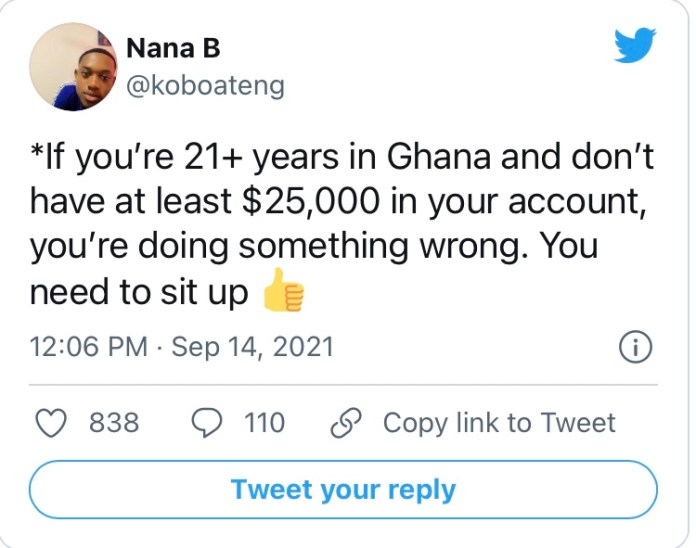 """""""If you're 21+ years in Ghana and don't have at least $25,000 in your account, you're doing something wrong"""" - Man says"""