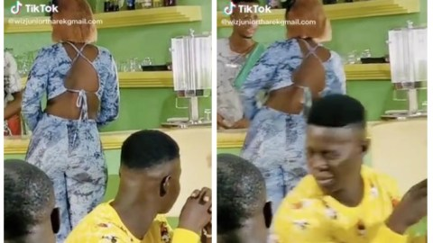 Man receives brain formatting slap from girlfriend for looking at another woman with heavy backside (Video)