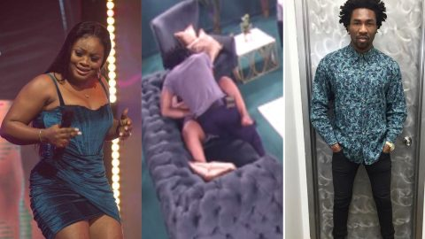 """BBNaija 2021: Tega Ignores Her Marital Status And Gets """"Busy"""" With Boma In The Lounge Room"""