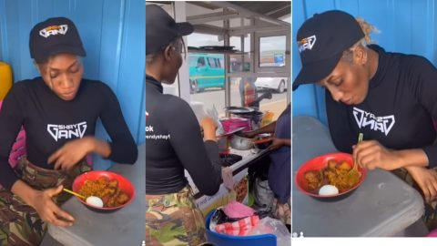 """Wendy Shay """"Broke"""" As She Is Seen Eating Gari And Beans 'Gob3' At A Joint (+VIDEO)"""