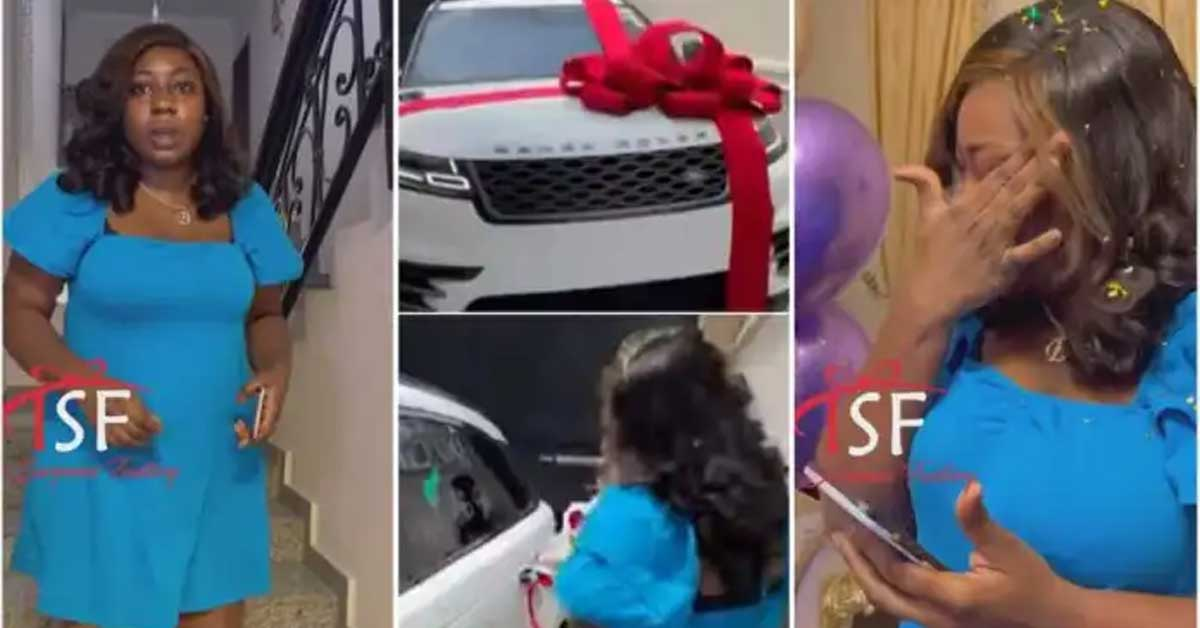 (+VIDEO) Man moves wife to tears as he surprises her with new Range Rover on her birthday