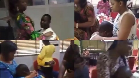 Unseen spectacle as women organizes prayer sessions for their husband as they cast away the 'spirit of cheating' away from their bodies (Video)