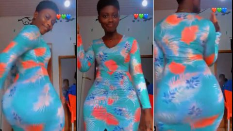 Young lady with huge backside throws another challenge to Hajia Bintu in new video