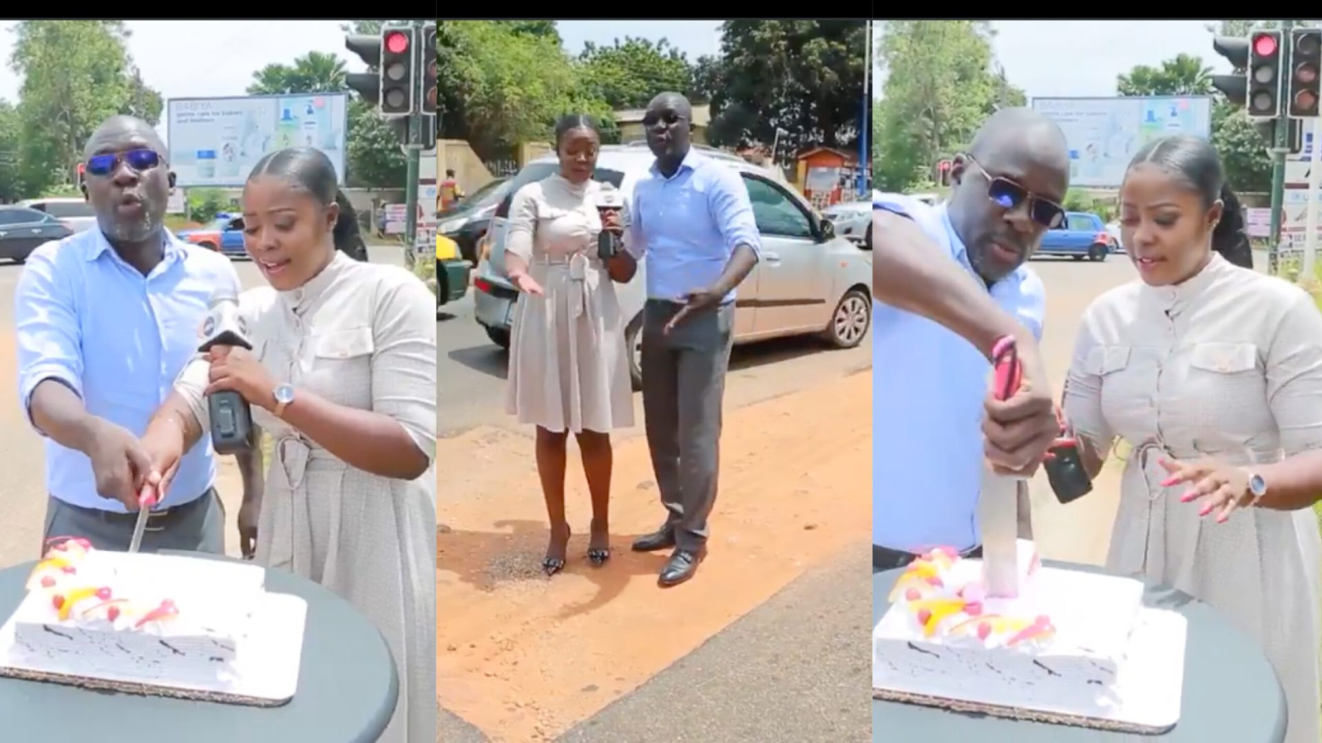 Citi TV journalists cut cake to celebrate birthday of infamous pothole causing traffic on the Cantonments road [Video]