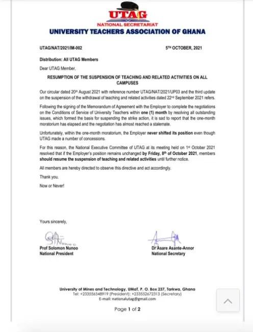 UTAG to resume strike