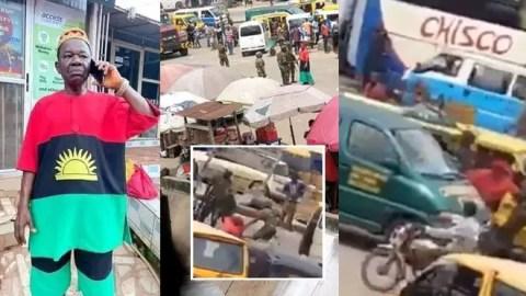 Soldiers beat Nigerian actor Chinwetalu Agu for wearing Biafra regalia (Watch)