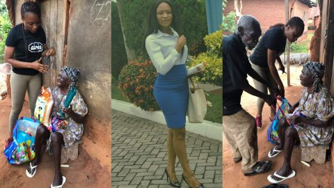 Blind Woman Gets Emotional After Kind Hearted Lady, Vhanessa Asilgya Nimatu Donated Some Items To Her (+PHOTOS)