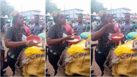 Outrage as woman sells rice by dipping her hand in customers' food and tasting it before serving (Watch)