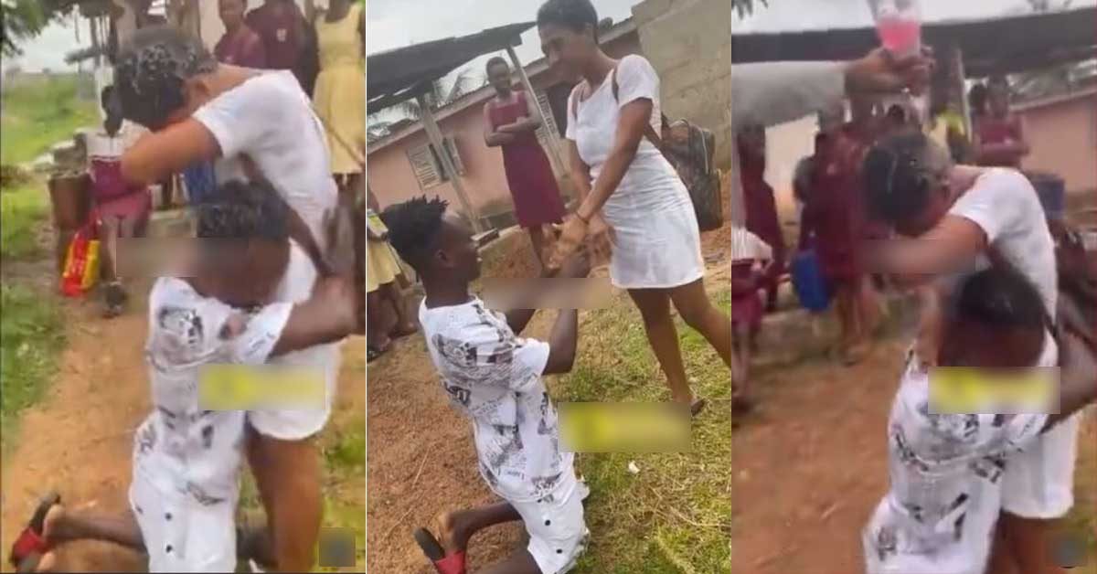 (+VIDEO) SHS lady move to tears after her guy who paid her fees proposed to her right after WASSCE