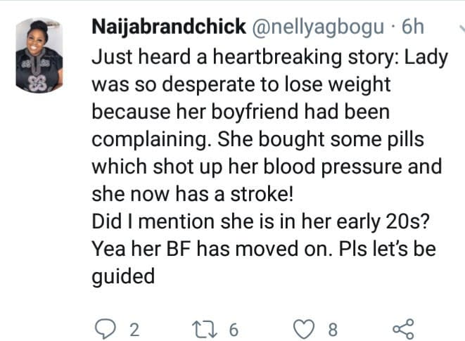 HMMMM!!! Lady Who Took Pills To Lose Weight For Her Boyfriend Suffers Stroke & The boyfriend Subsequently Dumps Her 2