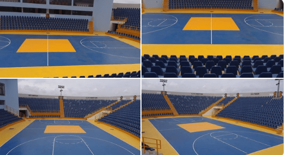 Photos: Management of Bukom Boxing Arena Marks Floor for Basketball Games