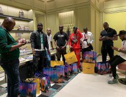Davido takes his crew members to shopping