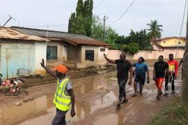 John Dumelo visits affected flood areas in West Legon