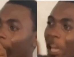 Teenage guy sheds uncontrollable tears