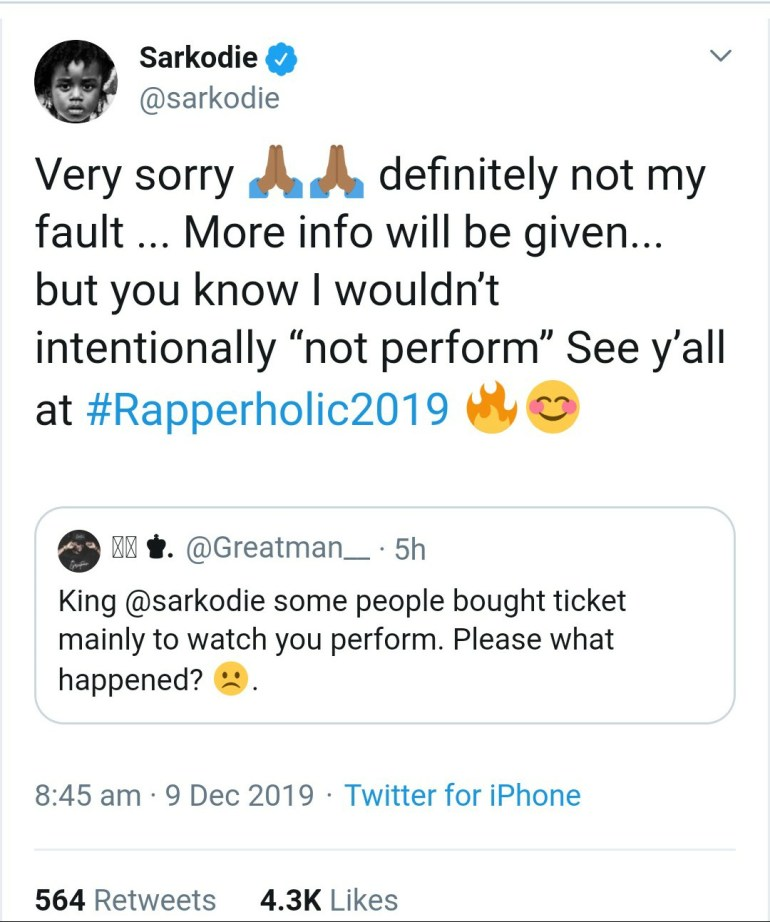 'Not My Fault'- Sarkodie On Why He Did Not Perform At Cardi B's Concert 2