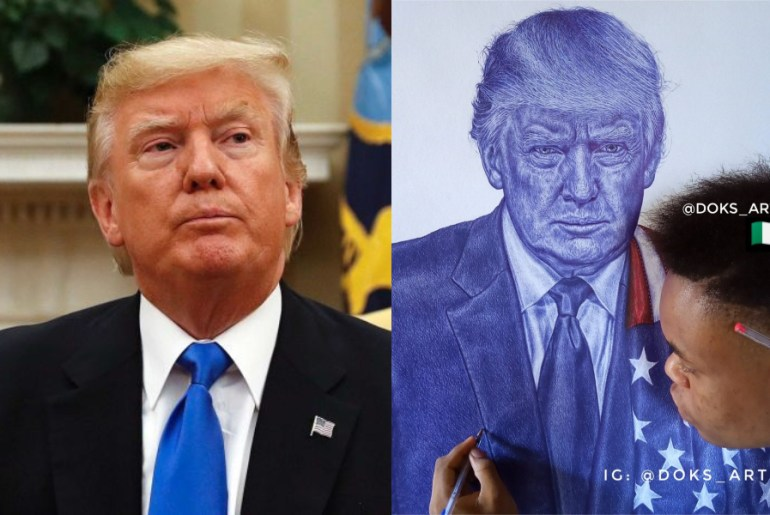President Donald Trump hail Nigerian guy who drew a portrait of him