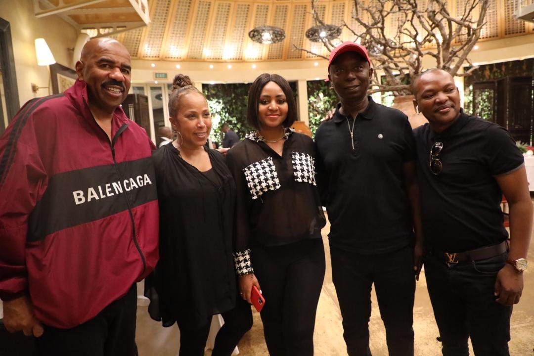 Regina Daniels & Billionaire Husband, Ned Nwoko Spotted Having Some Good Time With American Comedian, Steve Harvey & Family (photos) - GH Gossip