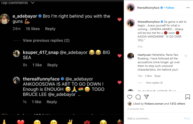 Adebayor Supports Funny Face As He Promise To Supplies Him Guns To Finish Off Lilwin, Kalybos, And Bismark - Screenshot 2