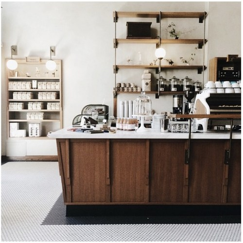 18. The industrial shelving and modern counter at Sightglass Coffee in San Francisco.