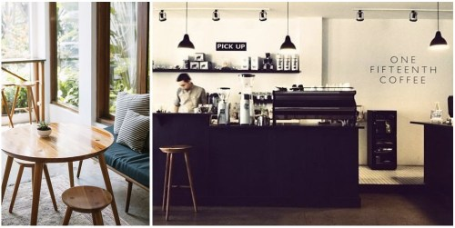 2. The black, white, and wood theme of One Fifteenth Coffee in Jakarta