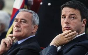 Il presidente del Senato, Pietro Grasso, e il segretario del PD, Matteo Renzi.