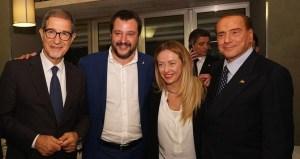 Da sinistra: Nello Musumeci, neo presidente della Sicilia, Matteo Salvini. Giorgia Meloni e Silvio Berlusconi. (fonte immagine: corriere.it)