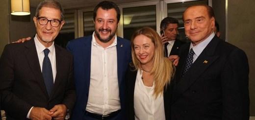 Da sinistra: Nello Musumeci, neo presidente della Sivilia, Matteo Salvini. Giorgia Meloni e Silvio Berlusconi. (fonte immagine: corriere.it)