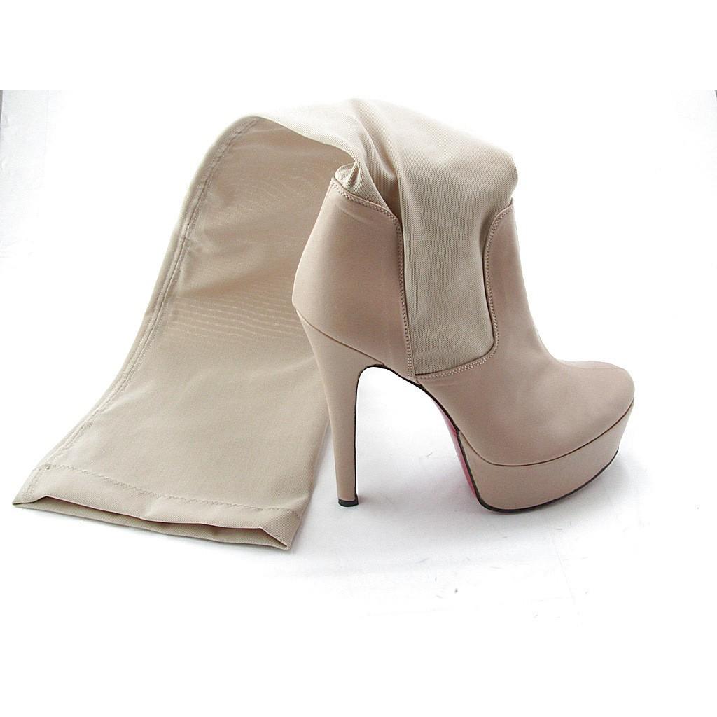 Plattform Stiefel aus beigem Leder und elastichen Gewebes