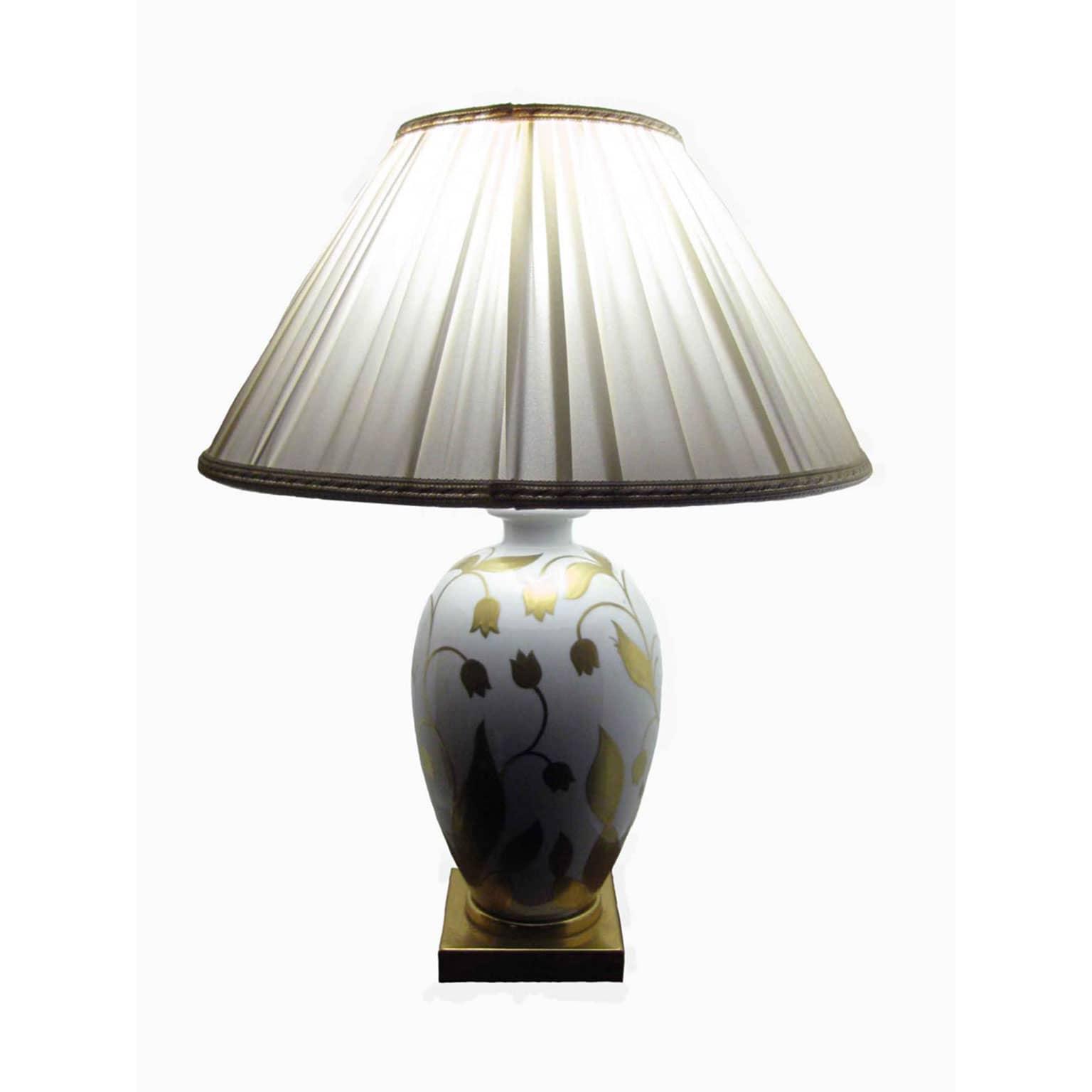 Lampada da tavolo in porcellana bianca oro
