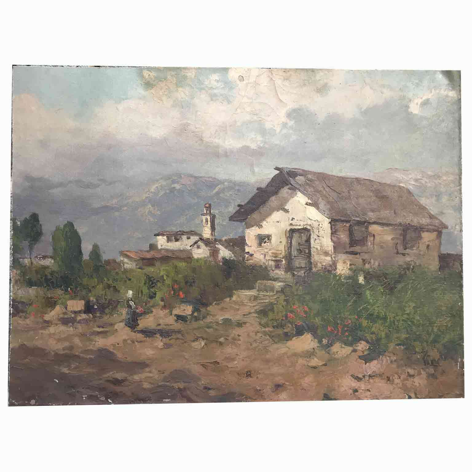 Paesaggio di montagna con campagna e paesino sullo sfondo