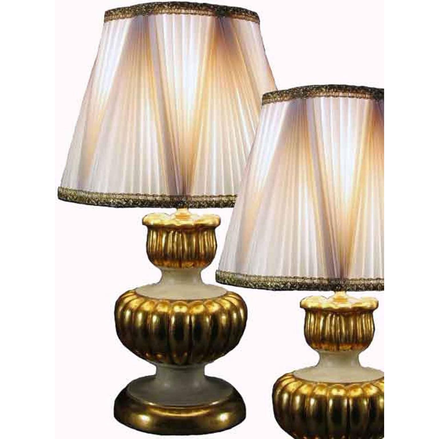 Coppia lampade dorate da tavolo con paralumi plissettati