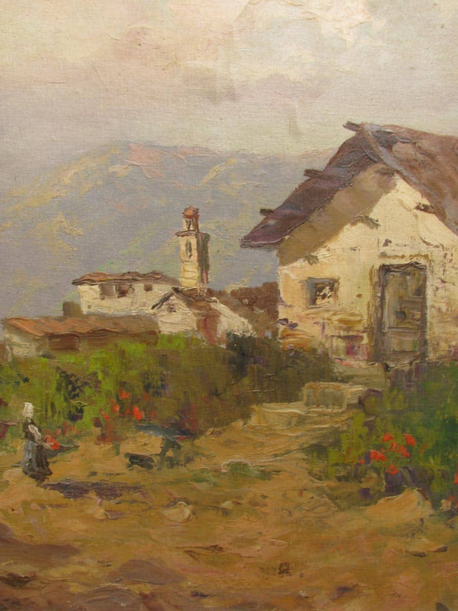 Mountain landscape oil painting framed first half 1900  Ghilli Antiques in Milano