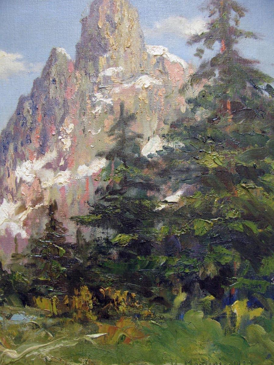 Dipinto Antico Paesaggio di Montagna Umberto Montini 1927