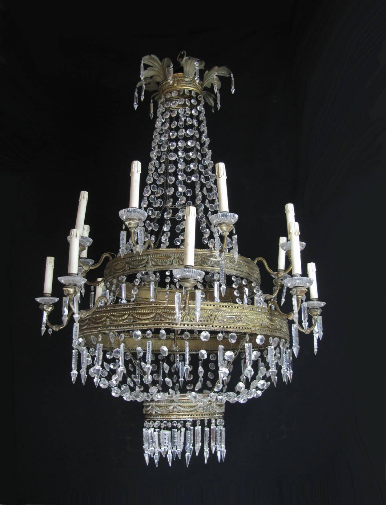 Lampadario antico in cristallo di Bohemia