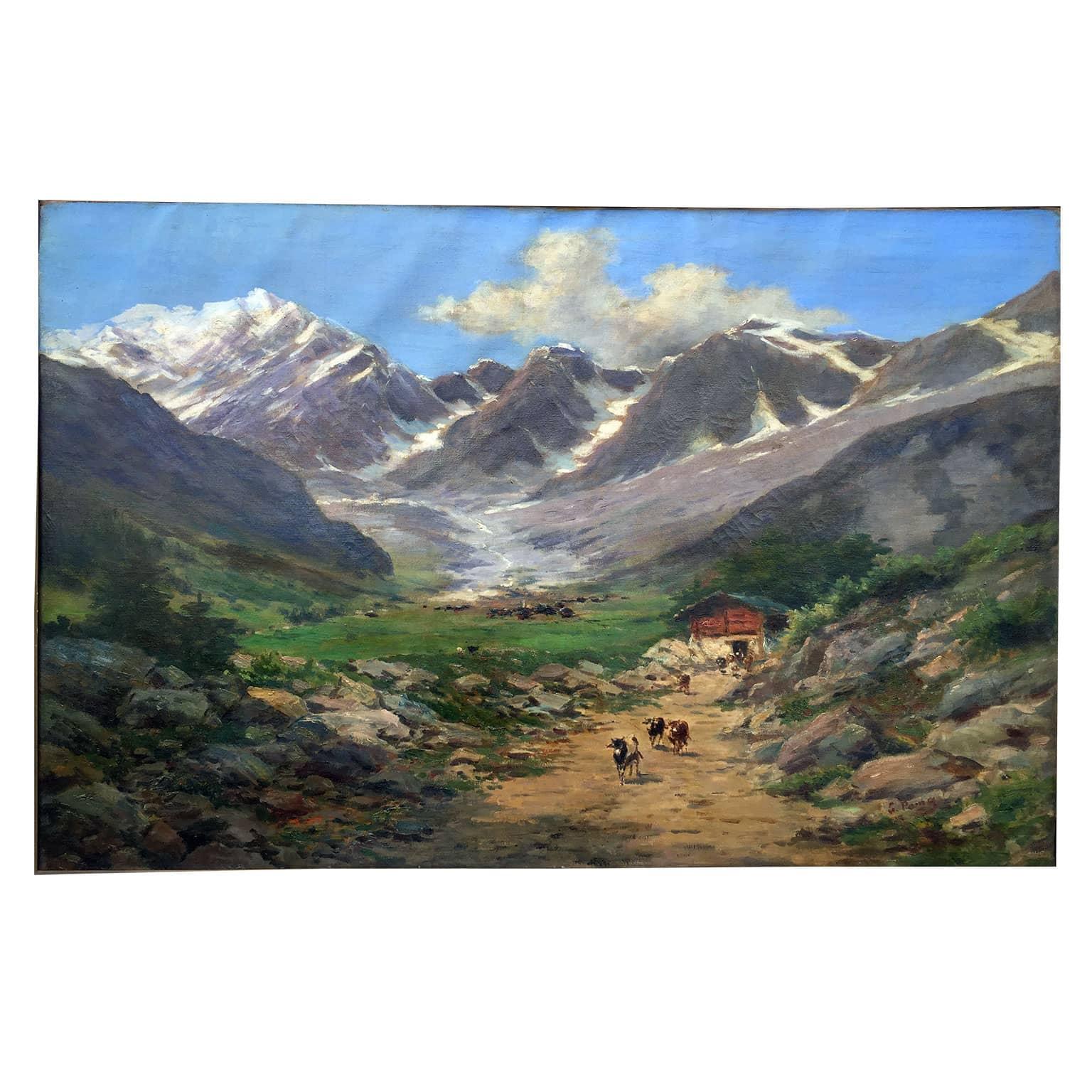 Silvio Poma Paesaggio di Montagna Monte Rosa con cornice