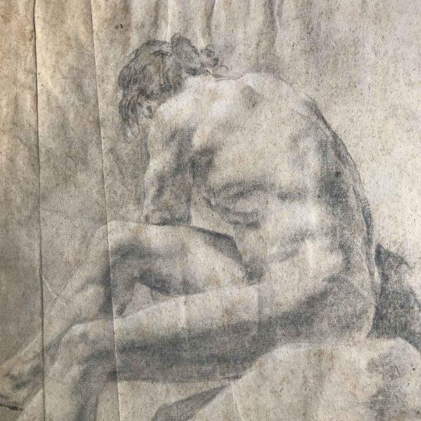 Coppia di disegni antichi di nudo maschile a matita e carboncino