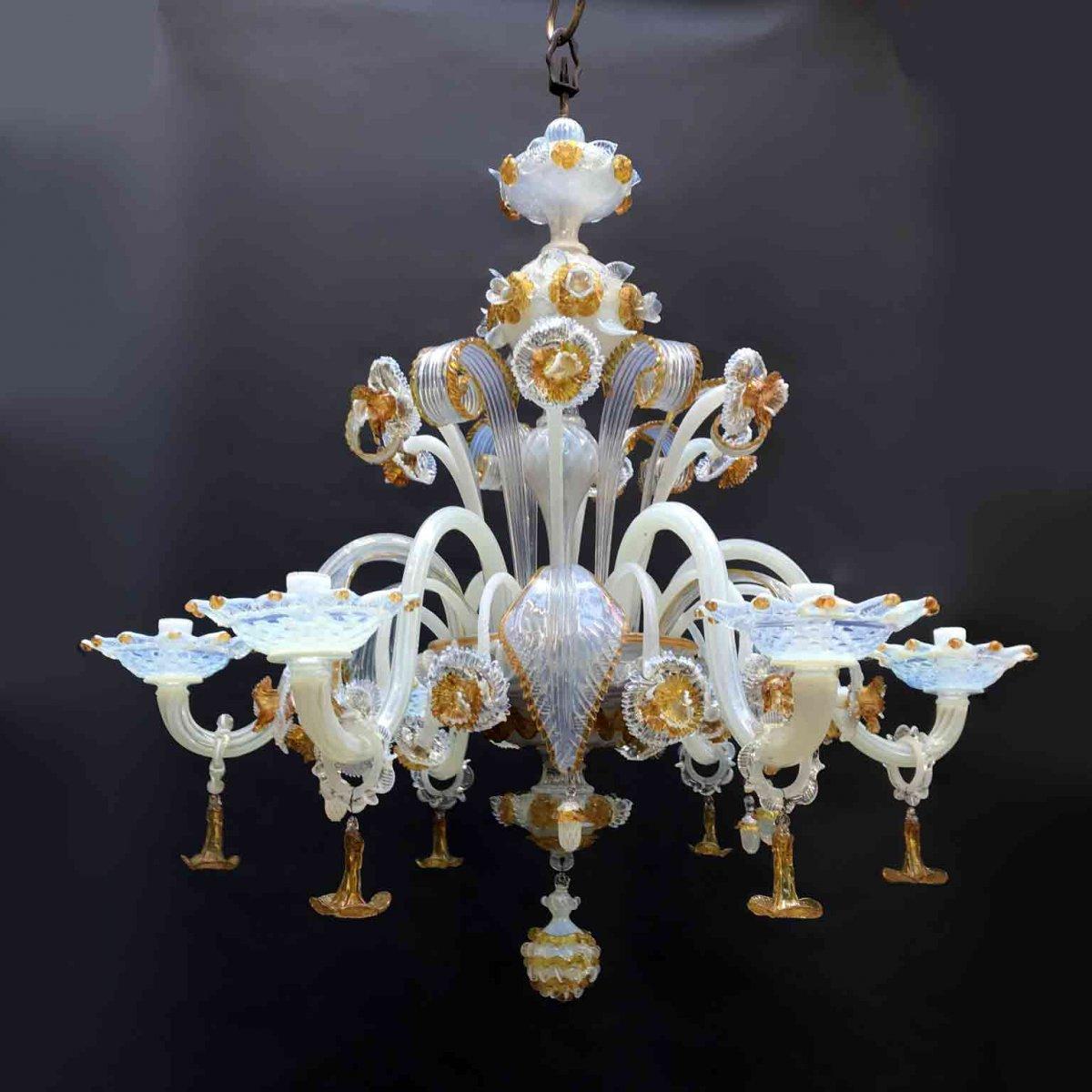 Lampadario 6 luci vetro di murano artigianale trasparente oro antico moderno. Lampadario In Vetro Di Murano Opalescente Vendita Online Ghilli Antichita Milano