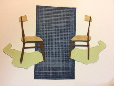 Collage préparatoire, Conversation, 30 x 24 cm
