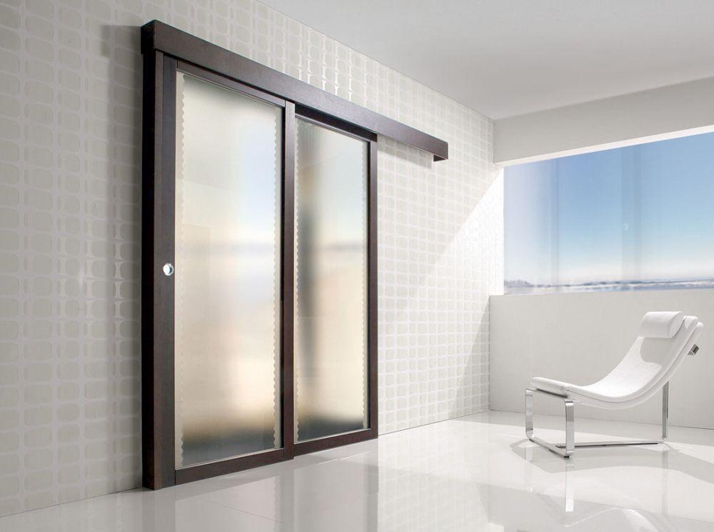 Porta per interni in legno e vetro satinato  Spazio