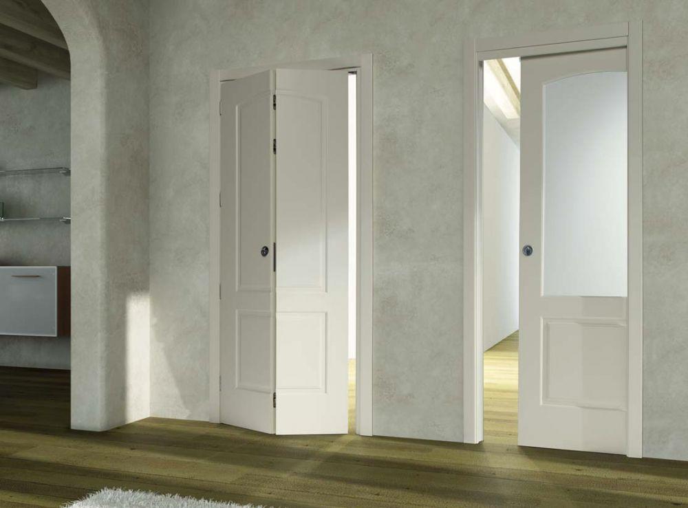 Porta a libro in legno porta scorrevole in vetro  D2B
