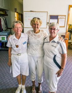 2016 President's Shield 1 - game winners Mary Howarth, Anne Wilson and Gail Richards.