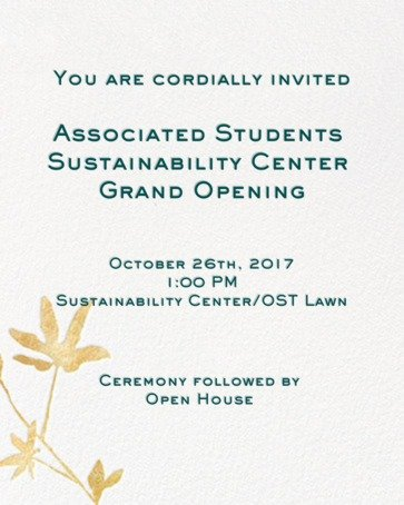AS Sustainability Center Grand Opening invitation 2017.10.26
