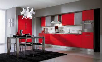 Ala Cucine Grey Kitchen with Red Cabinet   Interior Design ...