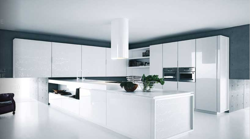 Modern Kitchen White Lacquer Cabinets  Interior Design Ideas