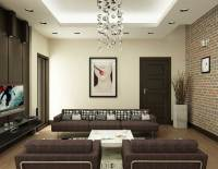Modern Brown and White Living Room with Brick Wall Decor ...
