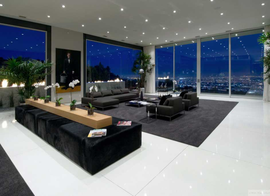 Luxury Living Room with Large Glass Wall Ideas  Interior