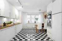 Modern Kitchen Apartment with Black and White Checkered ...